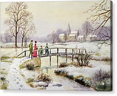 Footbridge In Winter Acrylic Print by Stanley Cooke