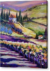 Foothills Vines And Olives Of Tuscany  Sold Acrylic Print by Therese Fowler-Bailey