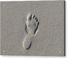Footprint In The Sand Acrylic Print