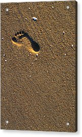 Footprint On Beach Acrylic Print