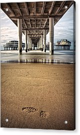 Footprints In The Sand Acrylic Print by Dave Bowman