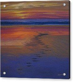 Footprints In The Sand Acrylic Print by Harvey Rogosin