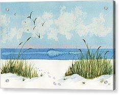 Footprints On The Beach Acrylic Print by Nan Wright