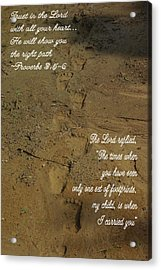 Footprints Proverbs Acrylic Print by Robyn Stacey
