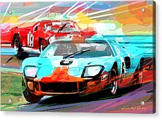 Ford Gt 40 Leads The Pack Acrylic Print by David Lloyd Glover