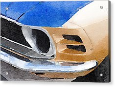 Ford Mustang Front Detail Watercolor Acrylic Print by Naxart Studio