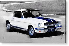 Ford Mustang Shelby Watercolor Acrylic Print by Naxart Studio