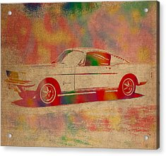 Ford Mustang Watercolor Portrait On Worn Distressed Canvas Acrylic Print by Design Turnpike
