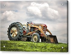Ford Powermaster Tractor On A Hill Acrylic Print by Gary Heller
