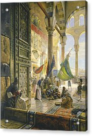 Forecourt Of The Ummayad Mosque, Damascus, 1890 Oil On Panel Acrylic Print by Gustave Bauernfeind