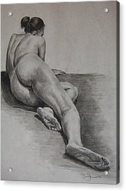 Foreshortened Nude Acrylic Print