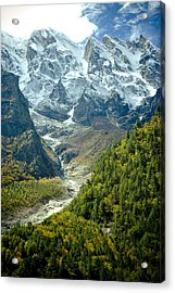 Forest And Mountains In Himalayas Acrylic Print