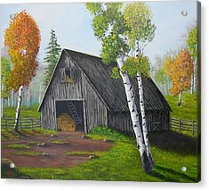 Acrylic Print featuring the painting Forest Barn by Sheri Keith