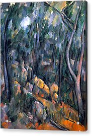Forest Caves In The Cliffs Above The Cheteau Noir By Cezanne Acrylic Print by John Peter