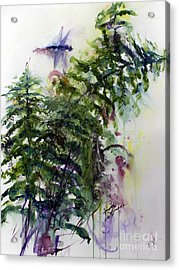 Acrylic Print featuring the painting Forest Fern And Dragonfly by Ginette Callaway