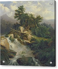 Forest Landscape With Waterfall  Acrylic Print by Julius Bakof
