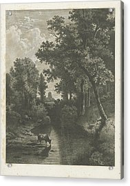 Forest Scene With Cows In A Stream, Jan Van Lokhorst Acrylic Print by Jan Van Lokhorst And Willem Roelofs (i)
