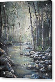 Forest Stream Acrylic Print by Megan Walsh