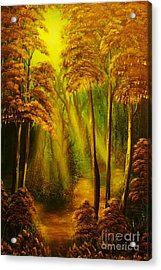 Forest Sunrays- Original Sold -buy Giclee Print Nr 38 Of Limited Edition Of 40 Prints  Acrylic Print