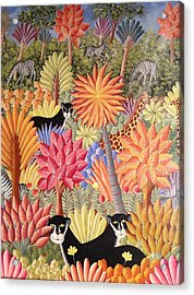 Acrylic Print featuring the painting Forest With  Black Panthers by Haitian artist