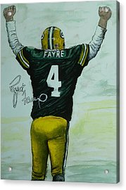 Acrylic Print featuring the painting Forever Favre by Dan Wagner