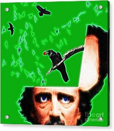 Forevermore - Edgar Allan Poe - Green - Square Acrylic Print by Wingsdomain Art and Photography