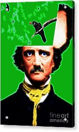 Forevermore - Edgar Allan Poe - Green - Standard Size Acrylic Print by Wingsdomain Art and Photography