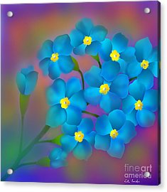 Acrylic Print featuring the digital art Forget- Me -not Flowers by Latha Gokuldas Panicker