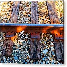 Forgotten - Abandoned Shoe On Railroad Tracks Acrylic Print by Sharon Cummings
