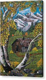 Acrylic Print featuring the painting Forgotten Cabin  by Sharon Duguay