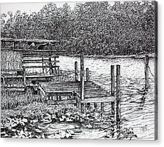 Forgotten Dock Acrylic Print by Janet Felts