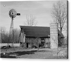 Forgotten Farm In Black And White Acrylic Print by Judy Whitton