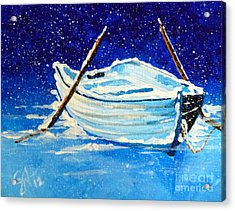 Acrylic Print featuring the painting Forgotten Rowboat by Jackie Carpenter