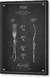Fork Patent From 1884 - Dark Acrylic Print by Aged Pixel