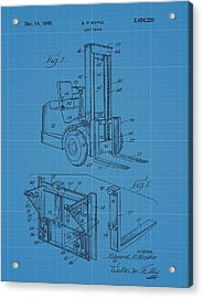 Forklift Blueprint Patent Acrylic Print by Dan Sproul