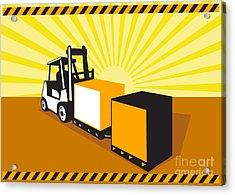 Forklift Truck Materials Handling Retro Acrylic Print by Aloysius Patrimonio