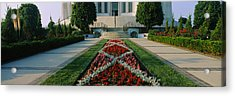 Formal Garden In Front Of A Temple Acrylic Print