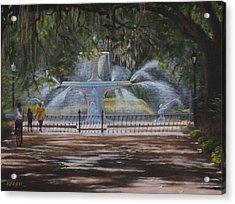 Forsyth Park Fountain Savannah Ga Acrylic Print by Alex Vishnevsky
