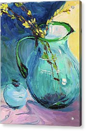 Forsythia In A Glass Jar Acrylic Print