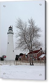 Fort Gratiot Light In Winter 5 Acrylic Print by Mary Bedy