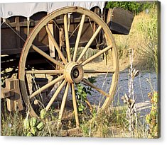 Fort Laramie Wy - Moving West On Wagon Wheels Acrylic Print