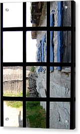 Acrylic Print featuring the photograph Fort Mackinac Through An Old Window by Mary Bedy