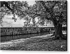 Fort Pike Approach In Black And White Acrylic Print by Andy Crawford
