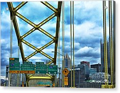 Fort Pitt Bridge And Downtown Pittsburgh Acrylic Print by Thomas R Fletcher