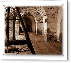 Acrylic Print featuring the photograph Fort Pulaski Arches Sepia by Jacqueline M Lewis