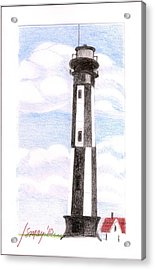 Acrylic Print featuring the painting Fort Story Lighthouse Virginia  Beach Va by Rod Ismay
