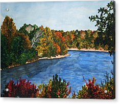 Fort Toulouse Coosa River In Fall Acrylic Print by Beth Parrish