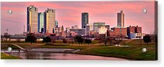 Acrylic Print featuring the photograph Fort Worth Skyline At Dusk Evening Color Evening Panorama Ft Worth Texas  by Jon Holiday
