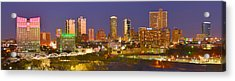 Acrylic Print featuring the photograph Fort Worth Skyline At Night Color Evening Panorama Ft. Worth Texas by Jon Holiday