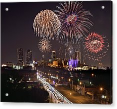 Acrylic Print featuring the photograph Fort Worth Skyline At Night Fireworks Color Evening Ft. Worth Texas by Jon Holiday